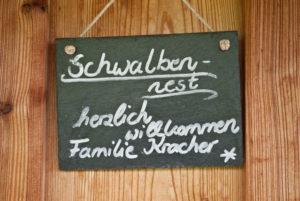 Berghammer Gmund Willkommens-Schild Fewo